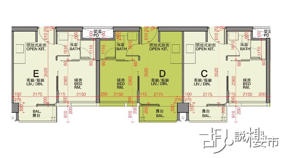 1座C室、D室、E室 (6-22樓)