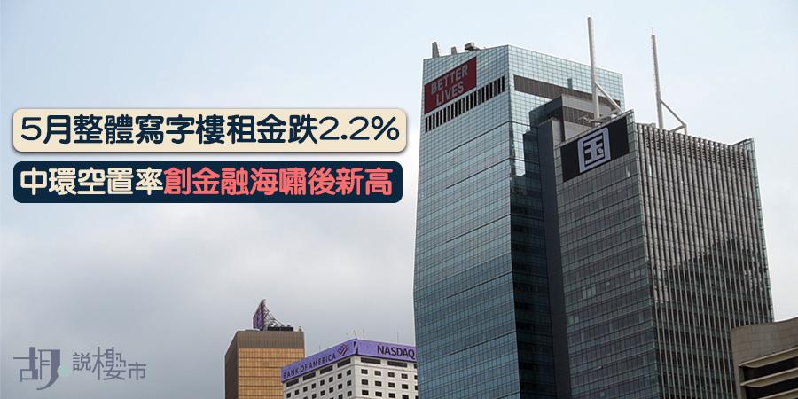 【香港經濟】5月寫字樓租金跌2.2%,中環空置率創08年後新高