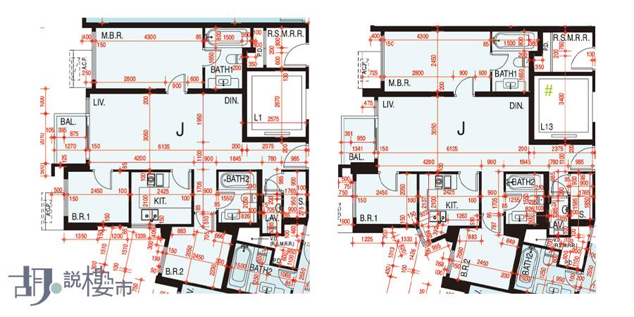 左:1座33-60樓J室、右:3座5-39樓J室