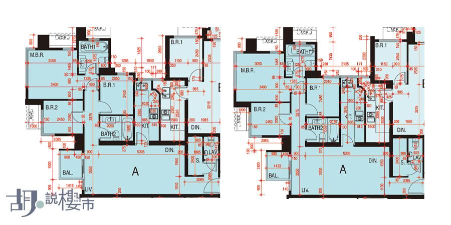 左:2座41-67樓A室、右:2座5-39樓A室