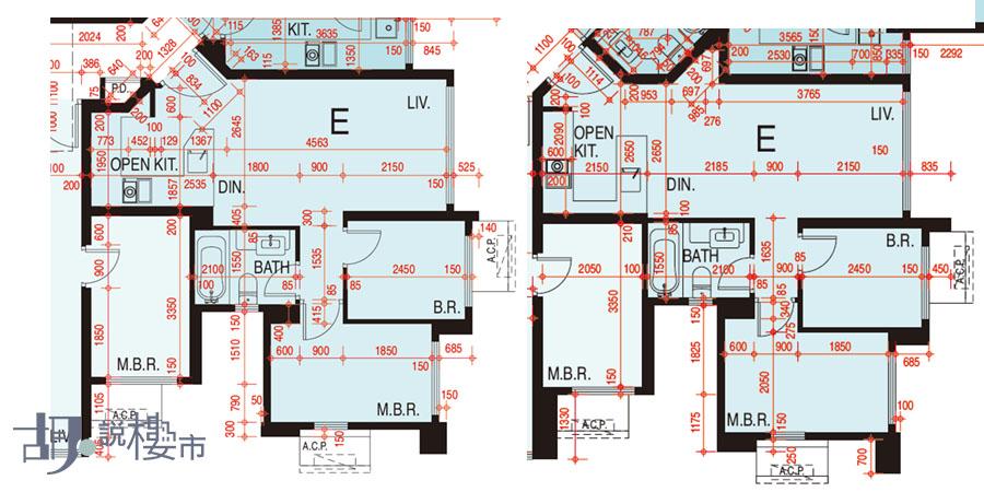 左:1座5-60樓E室、右:3座5-39樓E室