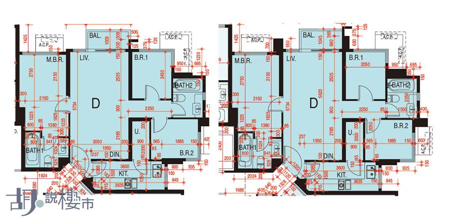 左:1座33-60樓D室、右:2座5-39樓D室