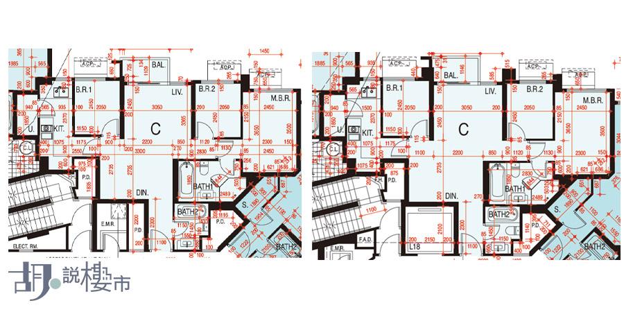 左:3座41-68樓C室、右:3座5-39樓C室
