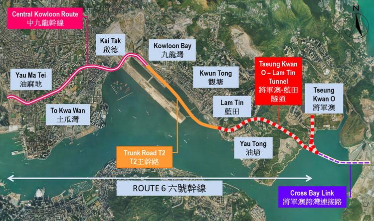 將軍澳跨灣大橋正在興建中,預計可疏導將軍澳隧道的繁忙交通,圖片來源:土木工程拓展署