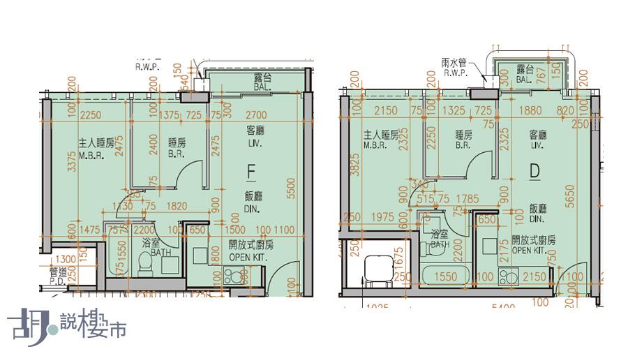 (左)3座F室、(右)5座D室