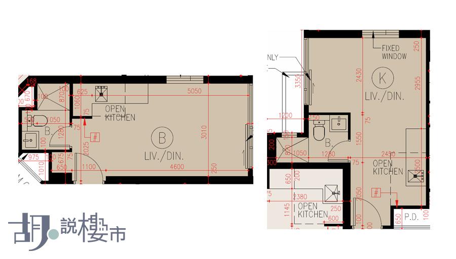 (左)B室、(右)K室