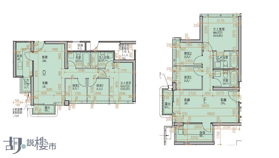 (左)2座D室、(右)5座F室