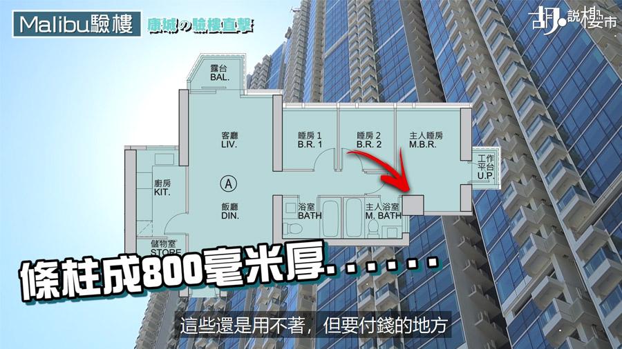 同層A室主人房有800毫米厚柱