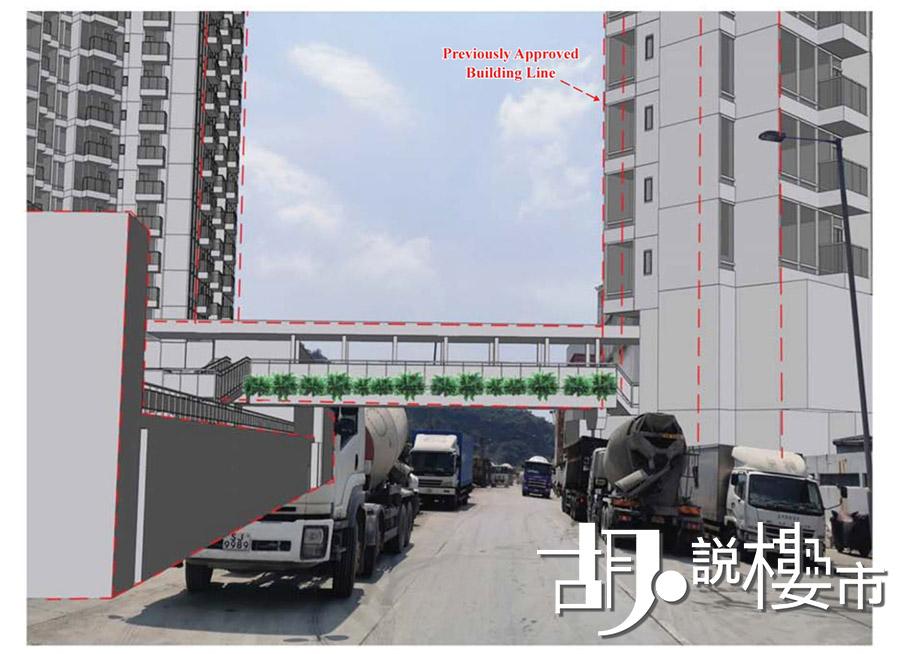 兩幅用地在會所樓層會設有天橋接駁起來。