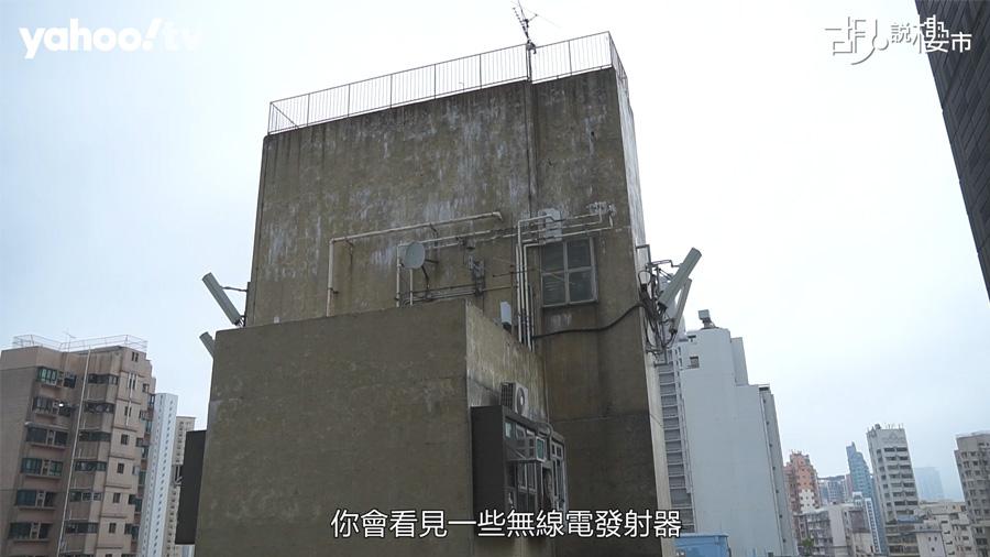 露台外望舊樓無線電發射器